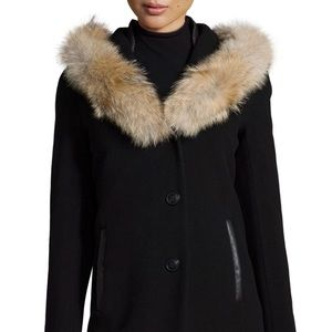 Mackage hooded wool blend long coat w/ fur sz M